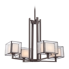 Chandelier with Clear Glass in Western Bronze Finish