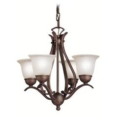 Kichler Lighting Mini-Chandelier with White Glass in Tannery Bronze Finish 2019TZ