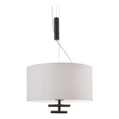 Modern Drum Pendant Light with White Shades in Bronze Finish