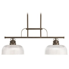 Farmhouse Island Light Prismatic Glass Bronze Archie by Progress Lighting