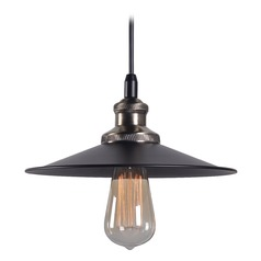 Kenroy Home Ancestry Black and Antique Bronze Pendant Light with Coolie Shade