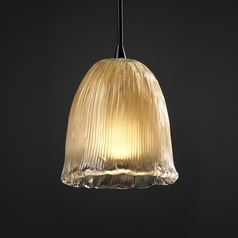 Justice Design Group Veneto Luce Collection Dark Bronze Mini-Pendant Light with Bowl / Dome Shade