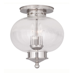 Livex Lighting Harbor Polished Nickel Close To Ceiling Light