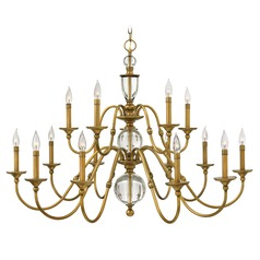 Hinkley Eleanor 2-Tier 15-Light Chandelier in Heritage Brass