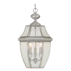 Beveled Seeded Glass Outdoor Hanging Light Pewter Quoizel Lighting