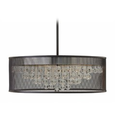 Frederick Ramond Flona Black Pendant Light with Drum Shade