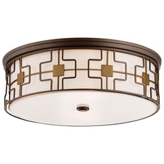 Minka Lavery Dark Brushed Bronze with aged Brass Flushmount Light