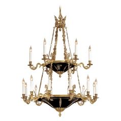 Chandelier in Dor Gold / Black Accents Finish