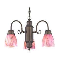 Design Classics Lighting Mini-Chandelier with Pink Art Glass in Bronze Finish 708-220 GL1004MB