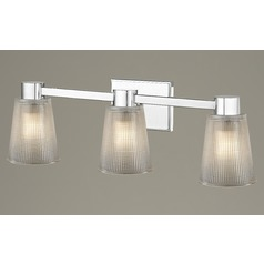 3-Light Prismatic Glass Bathroom Light Chrome