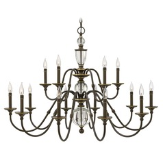Hinkley Eleanor 2-Tier 15-Light Chandelier in Light Oiled Bronze