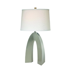 Lite Source Lighting Forster Polished Steel Table Lamp with Drum Shade