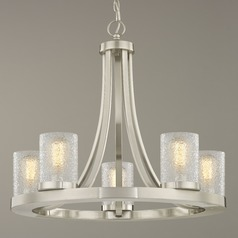Industrial Chandelier Satin Nickel with Ice Glass 5-Light