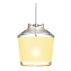 Besa Lighting Pica Satin Nickel LED Mini-Pendant Light with Urn Shade