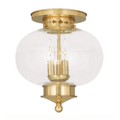 Livex Lighting Livex Lighting Harbor Polished Brass Close To Ceiling Light 5037-02