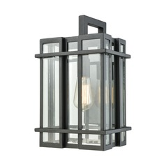 Elk Lighting Glass Tower Matte Black Outdoor Wall Light
