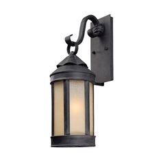 Outdoor Wall Light with White Glass in Aged Iron Finish