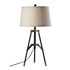 Tripod Table Lamp in Black with Gold Accents and Drum Shade