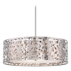 Modern Drum Pendant Light with White Cage Shades in Chrome Finish