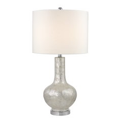 Natural Shell Table Lamp with Cream Drum Shade and Three-Way Switch