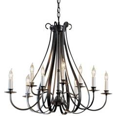 Hubbardton Forge 9-Light Chandelier in Dark Smoke