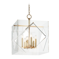Hudson Valley Lighting Travis Aged Brass Pendant Light with Square Shade