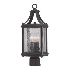 Seeded Glass Post Light Black Designers Fountain Lighting