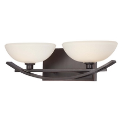 Minka Lighting Modern Bathroom Light with White Glass in Lathan Bronze Finish 6582-167
