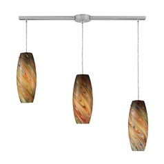 Modern Multi-Light Pendant Light with Multi-Color Glass and 3-Lights