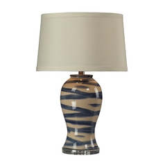 Ceramic Glazed Table Lamp with Drum Shade
