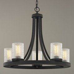 Industrial Chandelier with Ice Glass Bronze 5-Light