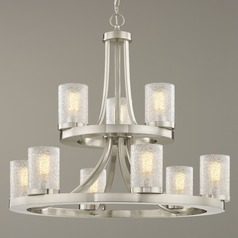 Industrial Chandelier Satin Nickel with Ice Glass 9-Lt 2-Tier