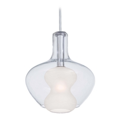 Modern Pendant Light with White Glass in Chrome Finish