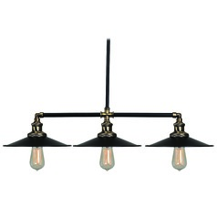Kenroy Home Ancestry Black and Antique Bronze Island Light with Coolie Shade