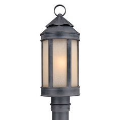 Post Light with White Glass in Aged Iron Finish