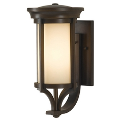 Feiss Lighting Outdoor Wall Light with Beige / Cream Glass in Heritage Bronze Finish OL7501HTBZ