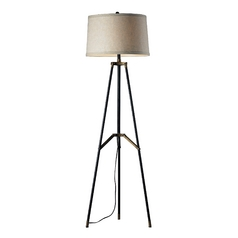 Tripod Floor Lamp in Black with Gold Accents and Drum Shade