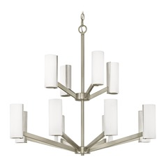 Modern LED Two Tier Chandelier with 12 Lights Satin Nickel Finish