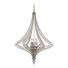Crystal Pendant Light in Satin Silver Finish