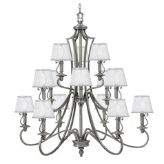 Hinkley Plymouth 3-Tier 15-Light Chandelier in Polished Antique Nickel