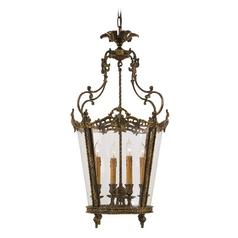 Pendant Light with Clear Glass in Antique Bronze Patina Finish