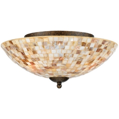 Flushmount Light with Multi-Color Glass in Malaga Finish