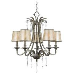 Crystal Chandelier with Mica Shades in Mottled Silver Finish