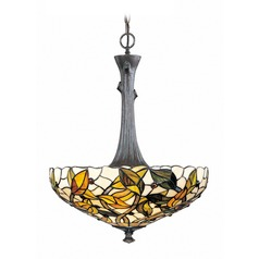 Lite Source Esther Bronze Verde Pendant Light with Bowl / Dome Shade