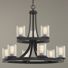 Industrial Ice Glass Chandelier in Bronze 9-Lt 2-Tier