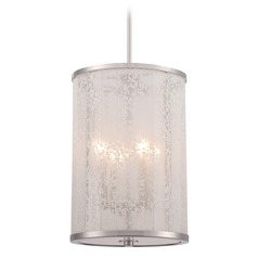Metropolitan Lake Frost Polished Nickel Pendant Light with Cylindrical Shade