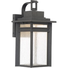 Seeded Glass LED Outdoor Wall Light Black Quoizel Lighting