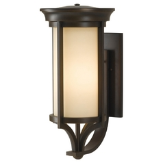 Outdoor Wall Light with Beige / Cream Glass in Heritage Bronze Finish