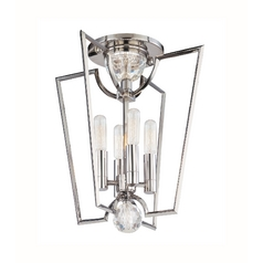 Modern Semi-Flushmount Light in Polished Nickel Finish