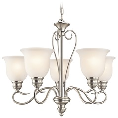 Kichler Chandelier with White Glass in Brushed Nickel Finish